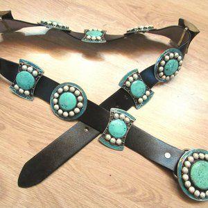 Leather Tibetan Handmade Varisite Stone Belt